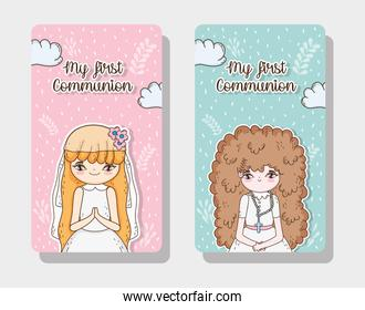set girls communion card to traditional event
