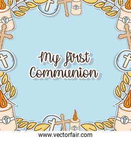 my first communion decoration event background