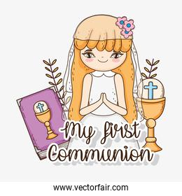 girl first communion with bibble and chalice
