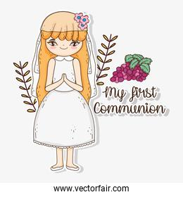 girl first communion with grapes and branches leaves