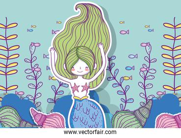 mermaid woman with fishes and branches leaves