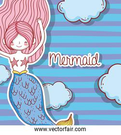 pretty mermaid woman with hairstyle and clouds