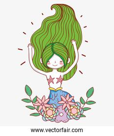 mermaid woman with flowers plants and leaves