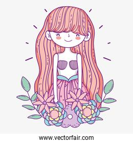 pretty mermaid woman with flowers and leaves