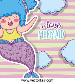 mermaid woman hairstyle with tail and clouds