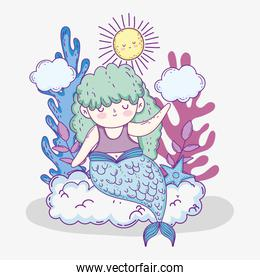 mermaid woman in the clouds with seaweed plants