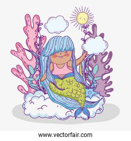 cute mermaid woman in the clouds with sun