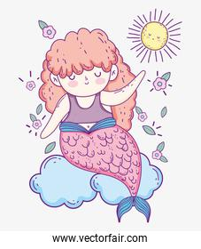 mermaid woman in the clouds with flowers and sun
