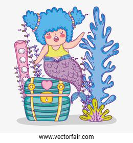 mermaid woman with coffer and seaweed plants