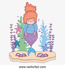 mermaid woman with starfishes and seaweed plants