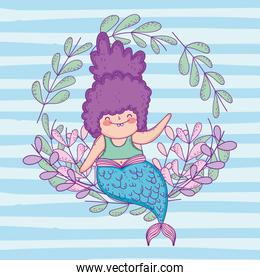 cute mermaid woman with branches leaves plants