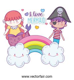 mermaid woman and pirate boy in the rainbow with clouds