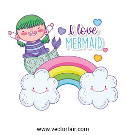 mermaid woman and hearts in the rainbow with clouds