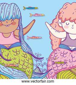 cute mermaid women with fishes and branches leaves