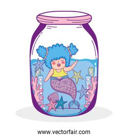 mermaid woman with starfish and seaweed plants in the jar