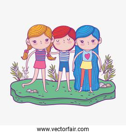 cute girls and boy with hairstyle and plants