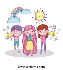 girls playing trumpet and singing with sun and rainbow