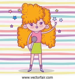 beauty girl with hairstyle and singing music