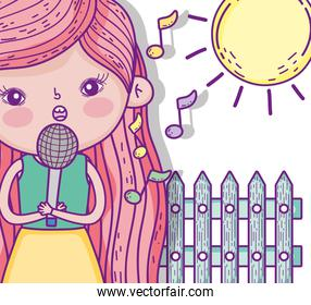 beauty girl singing music with sun
