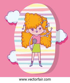 beauty girl with curly hair and singing music