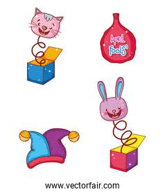set cat and rabbit box with whoopee bag humor