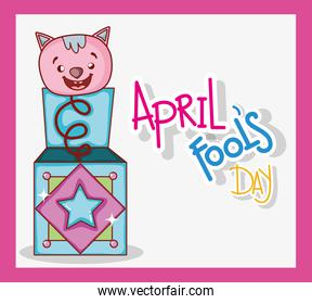 fools day celebration with cat box