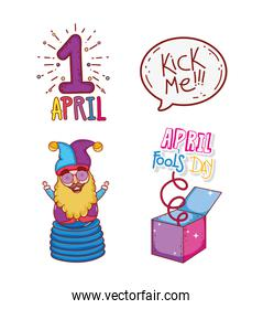set april first with jester and box to fools day
