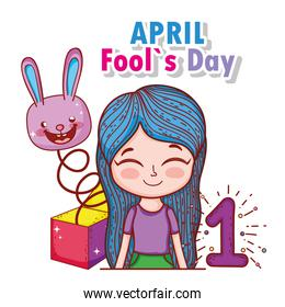 girl with rabbit box and fools day