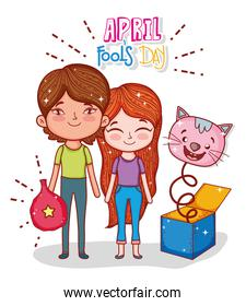 boy and girl with cat box to fools day