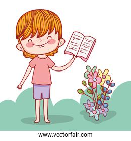 boy with education books and flowers plants