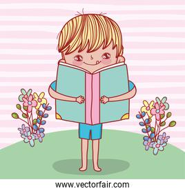 boy with book information and flowers plants