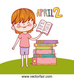 boy with education books to day celebration