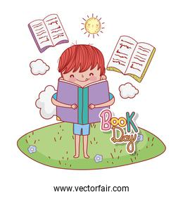 boy read education books with clouds and sun