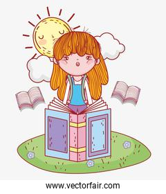 girl read books information with sun