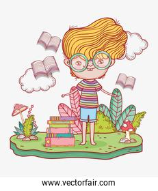 boy read books with leaves plants