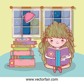 girl read books with lamp and window