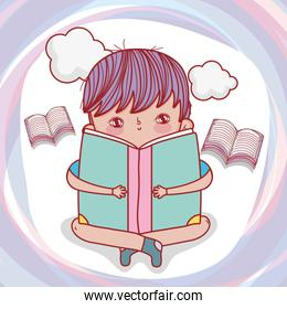 boy read books with clouds to literature day