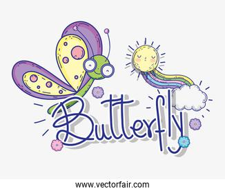 butterfly insect animal with sun and rainbow