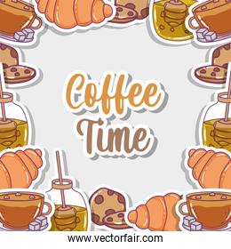 coffee time sketch flat design