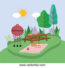 grilled bbq table blanket basket food picnic in the park