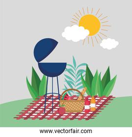 grill bbq basket fruits picnic in the park