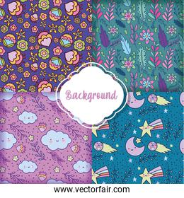 background flowers decoration flat layout