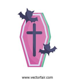 coffin and bats icon trick or treat happy halloween