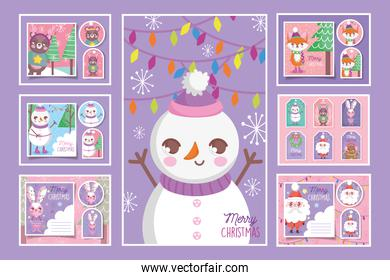 cute happy christmas tags and cards collection