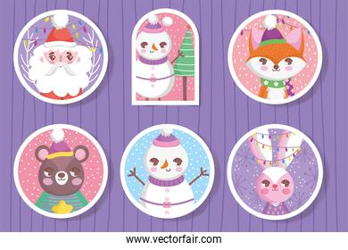 cute happy christmas tags icons