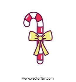 candy cane with ribbon decoration merry christmas icon