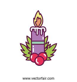burning candle with holly berry decoration merry christmas icon