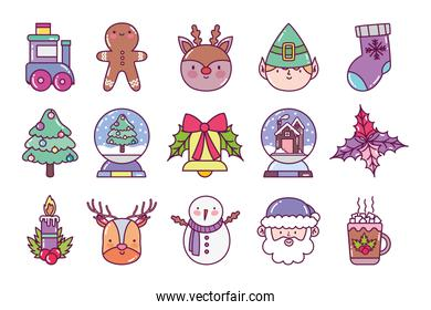 celebration decoration merry christmas icons