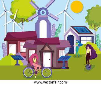 women with bicycle monocycle solar panel turbine wind houses countryside ecology