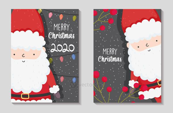 santa claus lights and berries merry christmas cards